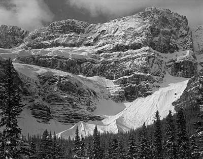 Photograph - 1m3556-bw-crowfoot Mountain And Glacier  by Ed  Cooper Photography