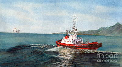 Crowley Tug Art Print by Sandy Linden