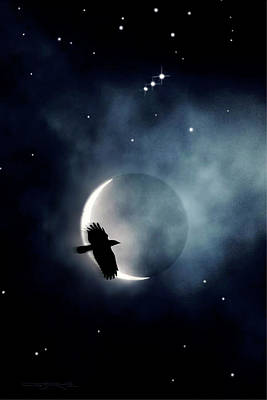 Crowmoon And Orion Art Print