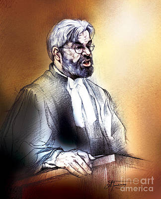 Art Print featuring the painting Crown Attorney Jim Hughes At His Closing Address During Paul Poby Trial by Alex Tavshunsky