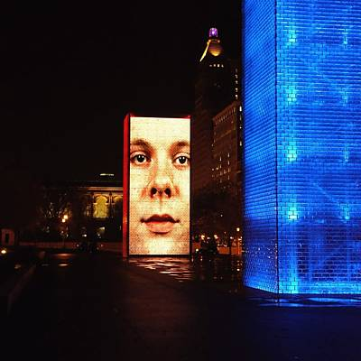 Photograph - Crown Fountain At Night by Jenny Hudson