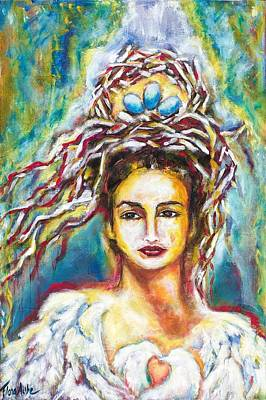 Red Thread Painting - Crown Of Life by Flora Aube
