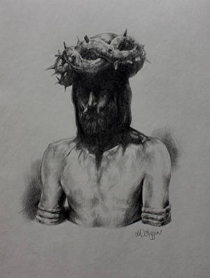 Pencil Drawing Of Jesus Drawing - Crown Of Thorns by Derrick Higgins