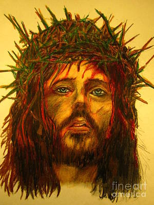 Pencil Drawing Of Jesus Drawing - Crown Of Thorns by John Malone