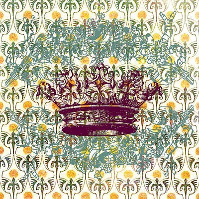 Greens Golds And Pinks Mixed Media - Crown Vintage With Medieval Background by Art World