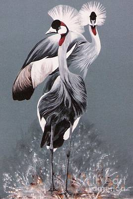 Crowned Cranes Art Print by DiDi Higginbotham