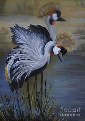 Painting - Crowned Cranes by Nancy Bradley