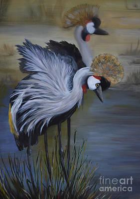 Painting - Crowned Cranes by Nancy Bradley