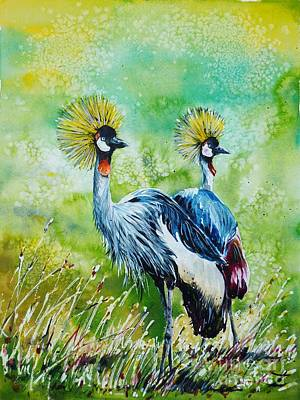 Painting - Crowned Cranes by Zaira Dzhaubaeva