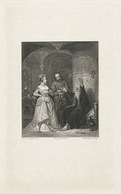 Mare Drawing - Crowned Lady Near A Chained Man, Johannes De Mare by Johannes De Mare And Koenraad Fuhri