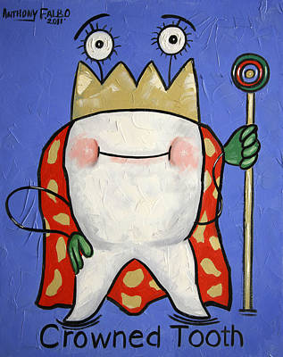 Tooth Painting - Crowned Tooth by Anthony Falbo