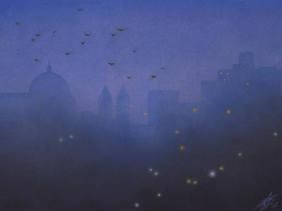 Painting - Crows Above Basilica  by Robin Street-Morris