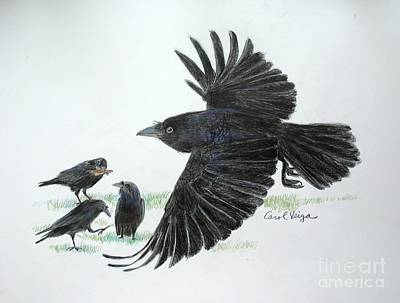 Crows Art Print by Carol Veiga
