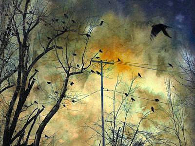 Wires Mixed Media - Crows Colors by Gothicrow Images