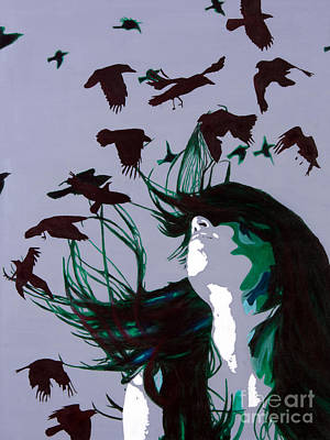 Art Print featuring the painting Crows by Denise Deiloh
