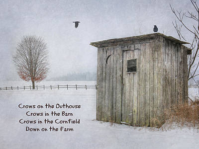 Snowy Digital Art - Crows On The Outhouse by Lori Deiter