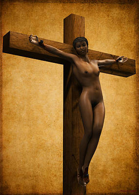 Crucified Black Woman Art Print by Ramon Martinez