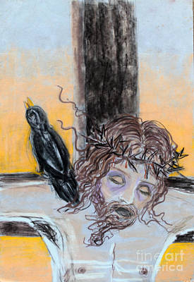 Scriptural Drawing - Crucified Christ With Crow by Anne Cameron Cutri