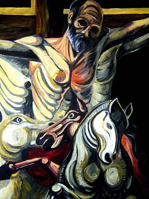 Painting - Crucified Saint And Holy Horses Enhanced Version by Vedran V Pasalic