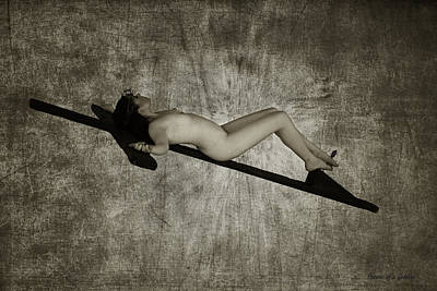 Crucified Woman In Sepia  Art Print by Ramon Martinez