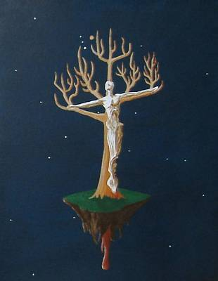 Art Print featuring the painting Crucifix 2 by Steve  Hester