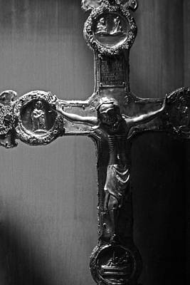 Photograph - Crucifix Illuminated by Michael Saunders