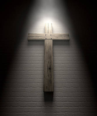 The Wooden Cross Digital Art - Crucifix On A Wall Under Spotlight by Allan Swart