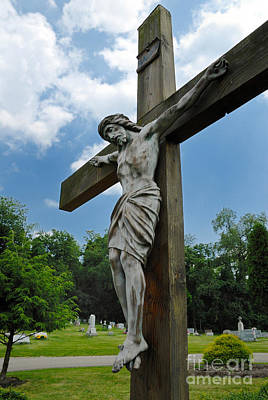Crucified Photograph - Crucifix Statue St James Cemetery Sewickley Heights Pennsylvania by Amy Cicconi