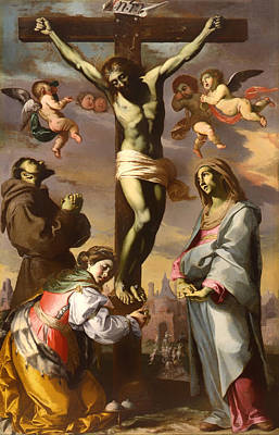 Crucifix Art Painting - Crucifix With The Virgin And Saints Francis And Agatha by Mountain Dreams