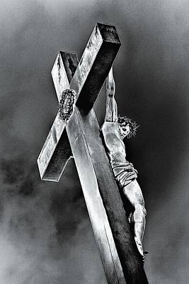 Photograph - Crucifixion At The Pope's Palace, 2015, (repainted Photograph) by Joy Lions