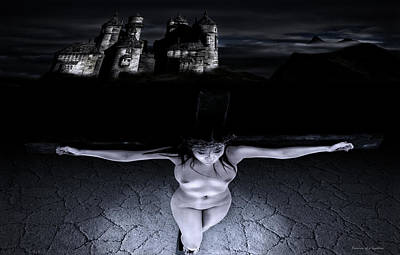 Crucifixion Wall Art - Digital Art - Crucifixion In The Night I by Ramon Martinez