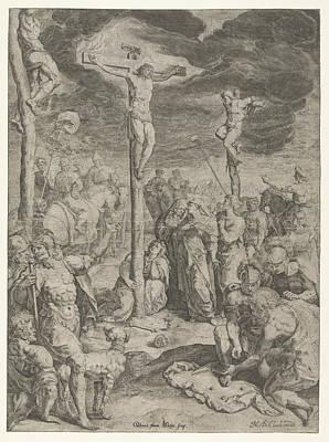 Mother Mary Drawing - Crucifixion, Jacob De Gheyn II, Nicolaes De Clerck by Jacob De Gheyn (ii) And Nicolaes De Clerck