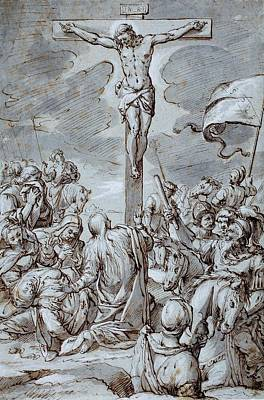New Testament Drawing - Crucifixion by Johann or Hans von Aachen