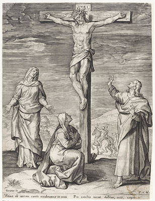 1636 Drawing - Crucifixion Of Christ, Anonymous, Frans Van Den Wijngaerde by Quint Lox