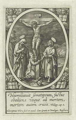 Crucifixion Of Christ, Hieronymus Wierix Print by Hieronymus Wierix