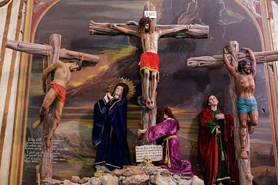Crucify Photograph - Crucifixion Scene Inside A Church, San by Julien Mcroberts