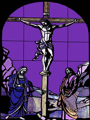 Photograph - Crucifixion Stained Glass by Methune Hively