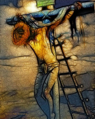 Turin Digital Art - Crucifixion - Stained Glass by Ray Downing