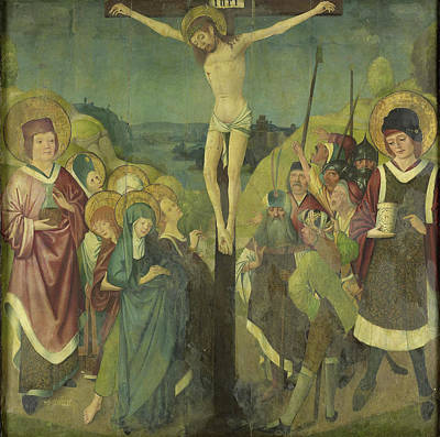 Damian Drawing - Crucifixion With Saints Cosmas And Damian by Litz Collection