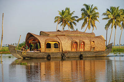 Cruise Boat In Backwaters, Kerala, India Art Print