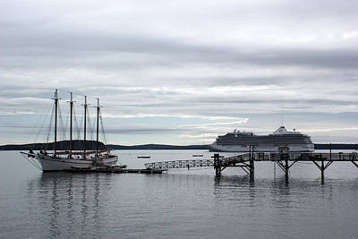 Photograph - Cruise Ship And Schooner by Mary Bedy