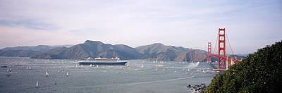 Queen Mary Photograph - Cruise Ship Approaching A Suspension by Panoramic Images