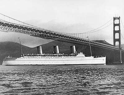 Cruise Ship Under Sf Bridge Art Print by Underwood Archives