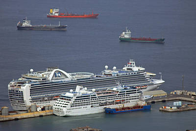 Photograph - Cruise Ships At Gibraltar by Tony Murtagh