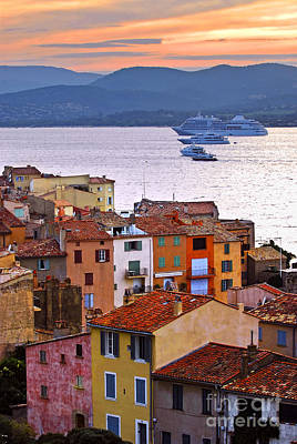 A White Christmas Cityscape - Cruise ships at St.Tropez by Elena Elisseeva