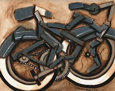 Bicycle Painting -  Abstract Blue Cruiser Bicycle Art Print by Tommervik