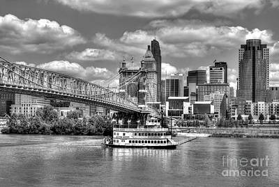 Steamboat Photograph - Cruising By Cincinnati 3 Bw by Mel Steinhauer