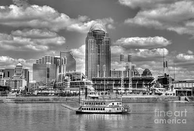 Steamboat Photograph - Cruising By Cincinnati 4 Bw by Mel Steinhauer
