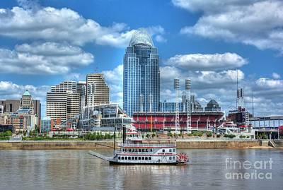 Steamboat Photograph - Cruising By Cincinnati 4 by Mel Steinhauer