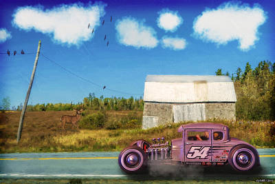 Hot Rod Mixed Media - Cruising By The Old Barn by Ken Morris